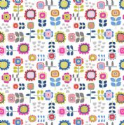 Lewis & Irene - Hann's House - 5816 - Multicoloured Modern Floral on White - A279.1 - Cotton Fabric